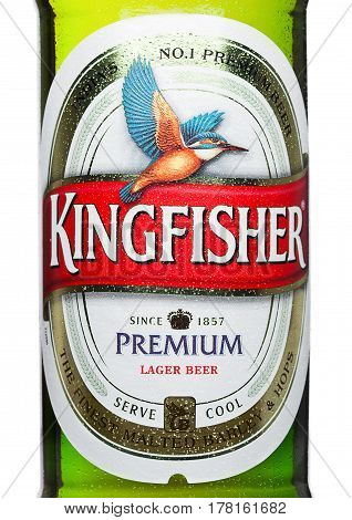 London,uk - March 23, 2017 : Bottle Label Of Kingfisher Beer On White. Kingfisher Is The Number One