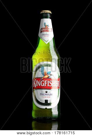 London,uk - March 23, 2017 : Bottle Of Kingfisher Beer On Black. Kingfisher Is The Number One Beer O