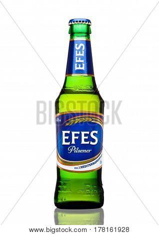London,uk - March 23, 2017 : Bottle Of Efes Pilsner Beer On White. Efes Pilsener Is The Flagship Pro