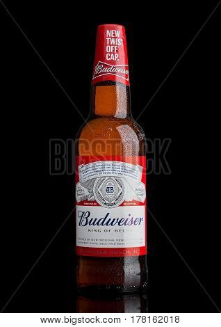 London,uk - March 21, 2017 : Bottle Of Budweiser Beer With New Twist Off Cap On Black. An American L