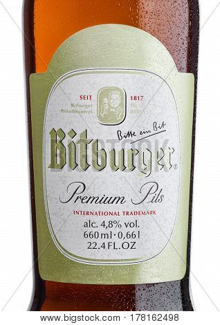 London, United Kingdom - March 23, 2017: Bottle Label Of Bitburger Beer On White.bitburger Brewery I