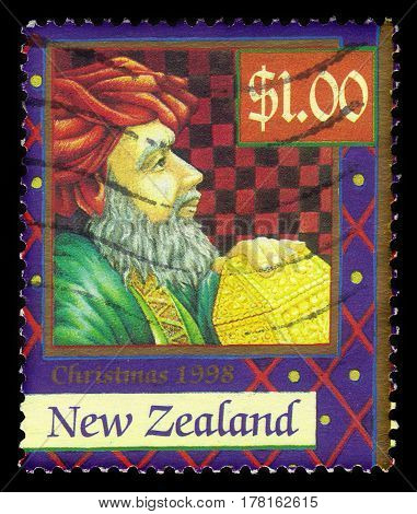 New Zealand - CIRCA 1998: A stamp printed in New Zealand shows Magi, series Christmas, circa 1998