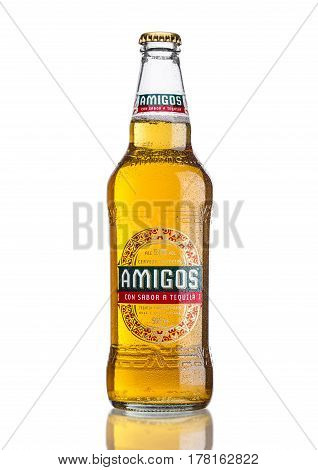 London, United Kingdom - March 23, 2017: Bottle Of Amigos Tequila Beeron White. A Beer Brewed By The