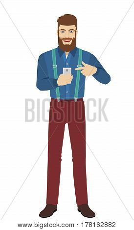 Hipster pointing at a mobile phone in his hand. Full length portrait of hipster in a flat style. Vector illustration.