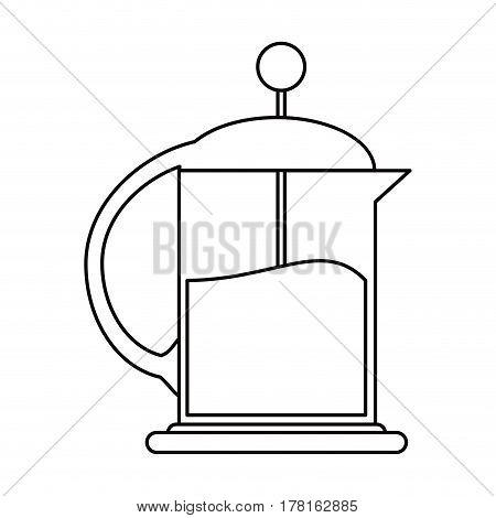 french press coffee maker outline vector illustration eps 10