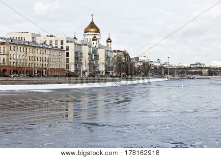 Moscow, Russia - January 22, 2017: Winter Moscow, Cathedral of Christ the Saviour in Moscow in the winter