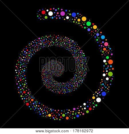 Circle fireworks swirling spiral. Vector illustration style is flat bright multicolored scattered symbols. Object swirl done from scattered pictographs.