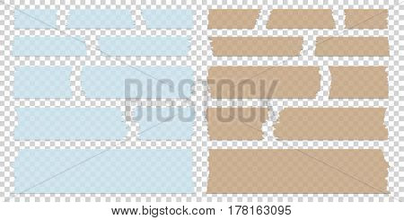 Sticky tape pieces of different size and colors on transparent background isolated. Vector illustration.