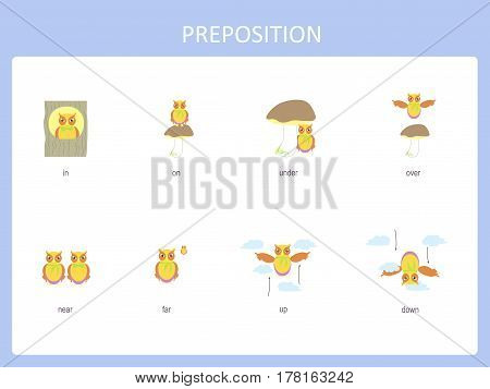 Preposition of motion for preschool, worksheet stock vector illustration