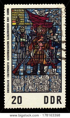 GERMANY - CIRCA 1968: a stamp printed in the Germany, Democratic Republic (DDR)  shows soviet liberation stained glass in Sachsenhausen Camp - Germany, circa 1968