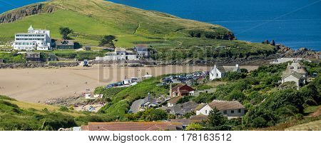 Bigbury-on-Sea and Burgh Island. One can see the sandy bottom of the Strait during low tide. Devon. England