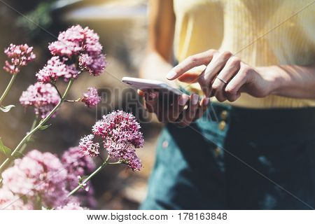 Hipster text message on smart phone or technology mock up of blank screen. Young girl using cellphone on color flower background close. Tourist female hands holding gadget on blurred summer backdrop