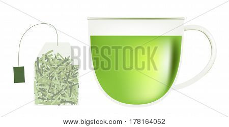 green tea leaf and cup vector on white background