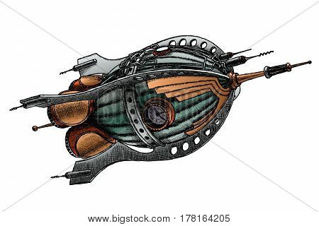 steampunk rocket. Vector illustration. Painted by hand