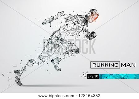 Silhouette of a running man. Dots, lines, triangles, text, color effects and background on a separate layers, color can be changed in one click. Vector illustration