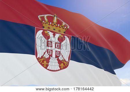 3D Rendering Of Serbia Flag Waving On Blue Sky Background