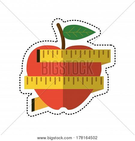 cartoon apple measuring tape lose weight vector illustration eps 10