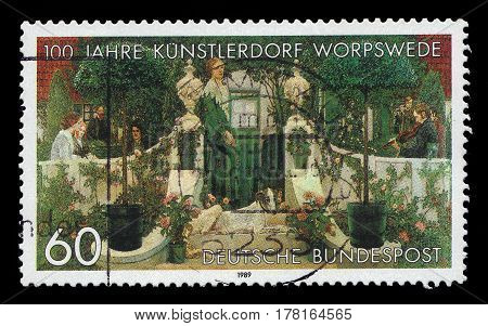 GERMANY - CIRCA 1989: A stamp printed in the Germany shows Summer Evening, painting by Heinrich Vogler, german painter, centenary of Worpswede Artists' Village, circa 1989