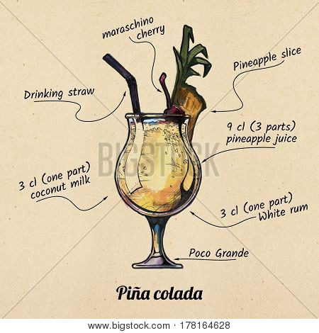 ink drawing and watercolor illustration of cocktail pina colada and its ingredients. On old paper background.