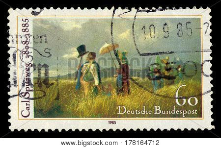 GERMANY - CIRCA 1985: A stamp printed in the Germany shows Sunday Stroll, painting by Carl Spitzweg, german romanticist painter, death centenary, circa 1985