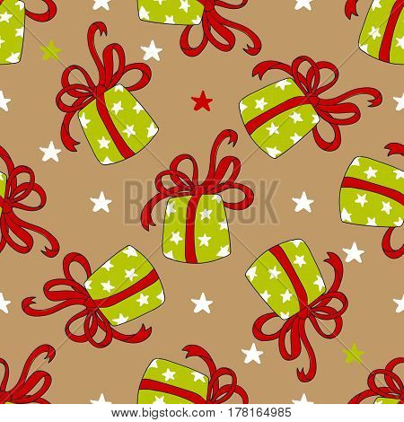 Seamless holiday pattern of colorful gift boxes with ribbon on beige background. Pattern for print, wrapping paper design. Hand drawn vector illustration.