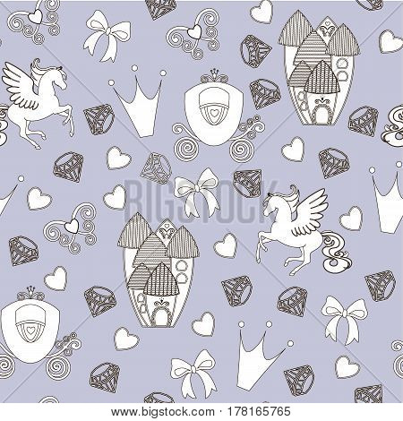 Princess Seamless Pattern for textile with castle, crown, butterfly, diamond. Abstract seamless pattern for girls. Magical Cinderella cute vector seamless pattern with Pegasus, castle, carriage.