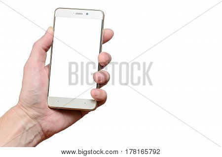 hand holding a phone isolated on a white background, located to the left up