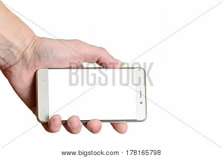 hand holding a phone isolated on a white background, located to the left down