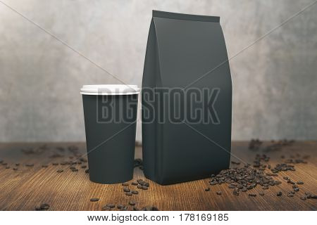 Black Coffee Package And Cup