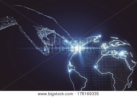 Abstract polygonal hand touching digital globe. Global business concept. 3D Rendering