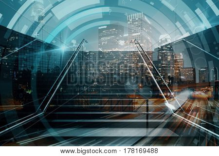 Abstract staircase with circular digital pattern on night city background. Growth concept. Double exposure