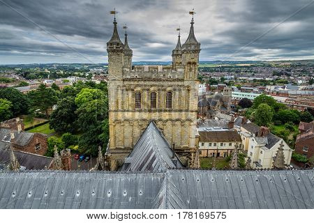 A view of the south tower of the cathedral from the roof. The center of Exeter. Devonshire. England