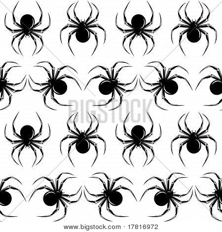 Halloween seamless with black spiders on the white background poster