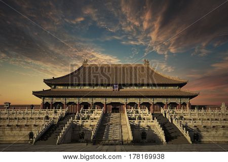 Beautiful landscape in Forbidden City with twilight sky above the imperial palace. shot at Beijing China
