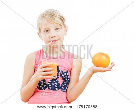 Sport girl is drinking a smoothie from a grapefruit. Isolated on white background. The concept of healthy nutrition for children.