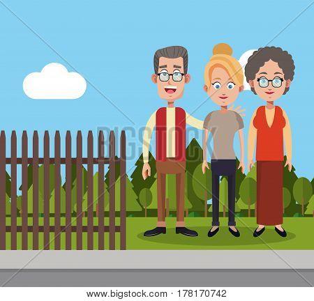 family members fence landscape vector illustration eps 10