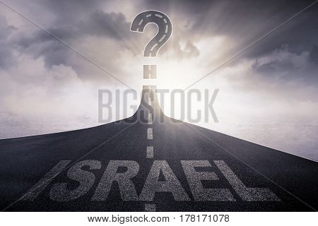 Image of highway with word of Israel toward to a question mark at the end of a road