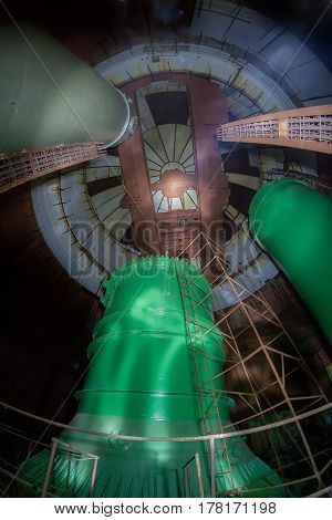 Inside the reactor of abandoned unfinished power unit of the Voronezh nuclear power plant of heat supply