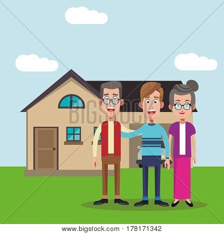 family members house image vector illustration eps 10