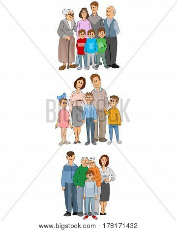 Vector illustration of a three family set