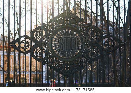 classic decorative fences in street saint-petersburg Russia. close up