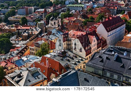 View of the Old Town of Tallinn from St. Olaf's Church Tower. Tallinn, Estonia