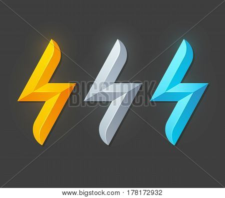 Lightning bolt symbol in yellow metallic silver and blue. Logo or icon vector illustration.