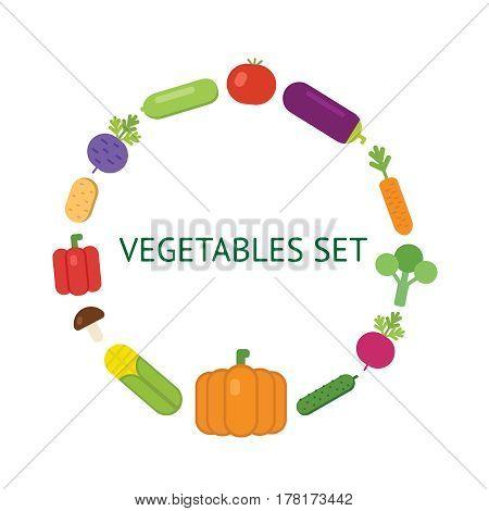 Vegetarian food icon set organic vegetables, Tomato, pumpkin, eggplant, brocolli, carrot onion eps10 illustration