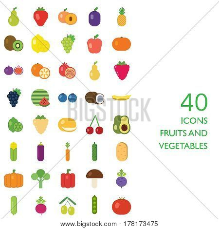 Set of fruits and vegetables illustration icon flat eps10