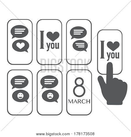 Chat icon, love message on smartphone screen finger touches screen. instant messaging concept for web banner web site infographics flat design vector illustration