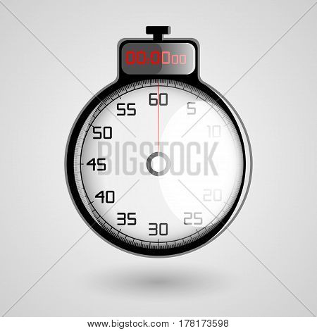 the digital 3D stopwatch on a white background