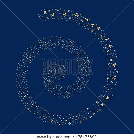 Biohazard fireworks whirl spiral. Vector illustration style is flat yellow scattered symbols. Object whirl constructed from scattered pictographs.