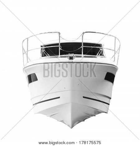 The image of an passenger motor boat Bow of the ship front view isolated on white background