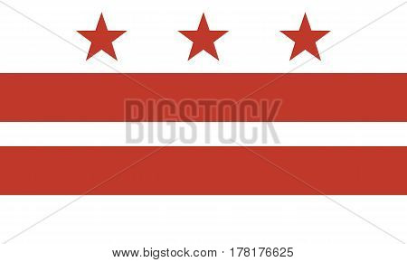 Flag of the District of Columbia Official symbol of the state vector illustration